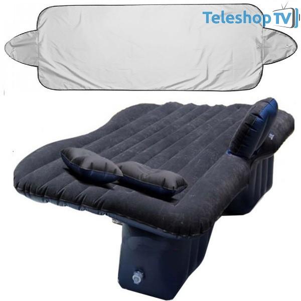 Saltea auto gonflabila Travel Bed, dimensiuni 138x85x45 cm + cadou parasolar parbriz