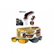 Set Car Kit Bluetooth HandsFree - Modulator FM, cu USB + Set 2 perechi ochelari de condus - de zi si noapte