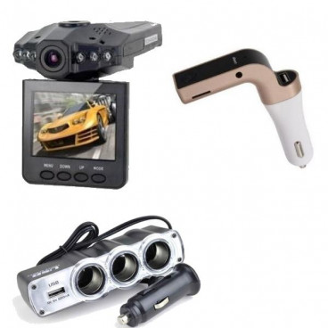 Pachet promotional, Camera video auto HD + Modulator FM G7, Priza tripla USB cadou