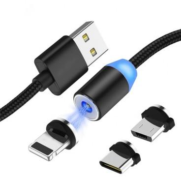 Cablu incarcator magnetic LED 3in1 cu incarcare rapida