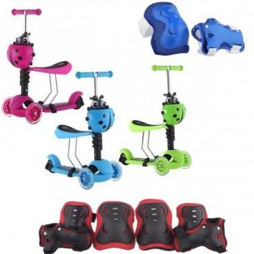 Trotineta Action One Smart Kid 3 IN 1 cu roti luminoase + Set Protectie Sport, Genunchiere, Cotiere, Protectie Incheieturi