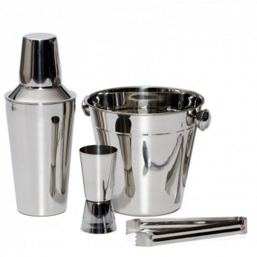 Set 4 piese frapiere si cocktail shaker din inox
